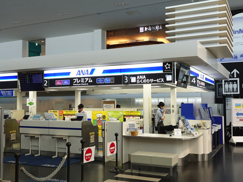 神戸空港 ANAのチェックインカウンター