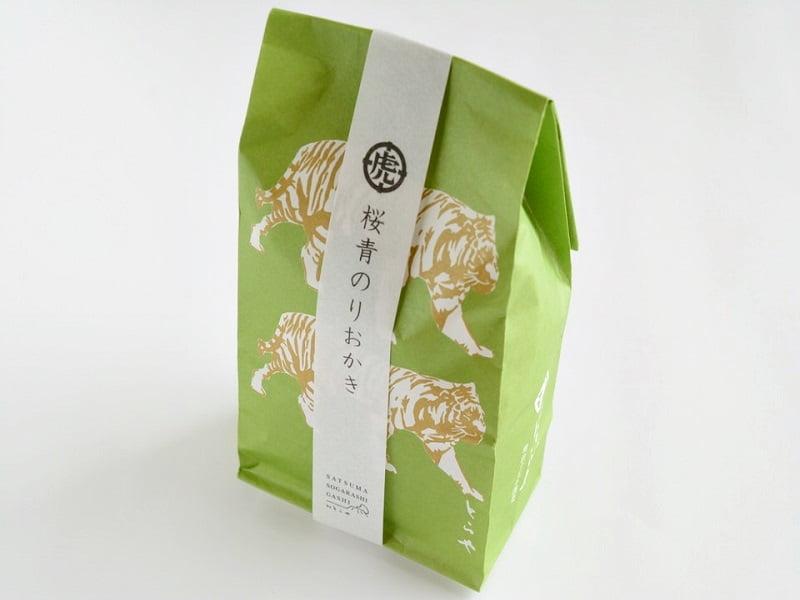 薩摩ソガラシ菓子 桜青のりおかき外装