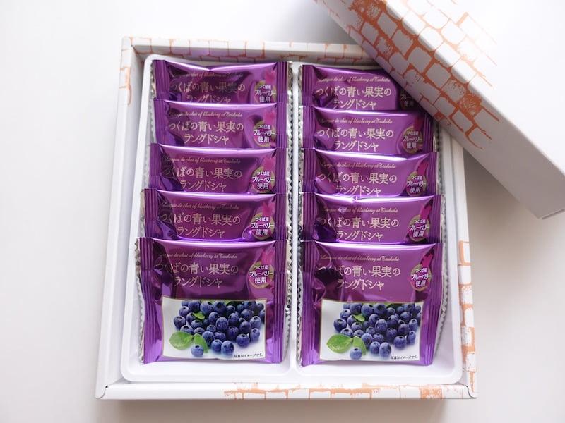 つくばの青い果実のラングドシャ 開封した写真