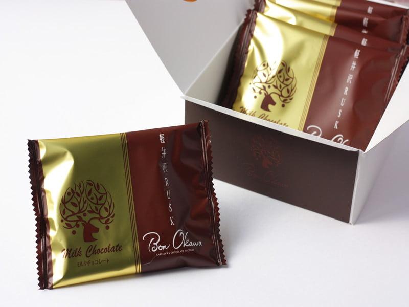 軽井沢チョコレートファクトリー 軽井沢ラスクミルクチョコレート 開封した写真