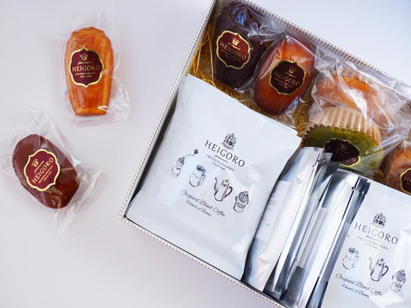 平五郎 焼き菓子セレクション&オリジナルブレンドコーヒーと紅茶セット 開封した写真