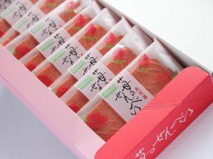 雅風堂 苺のせんべい 開封した写真