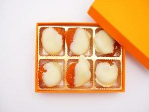 杏花堂 杏ホワイトチョコレート 開封した写真